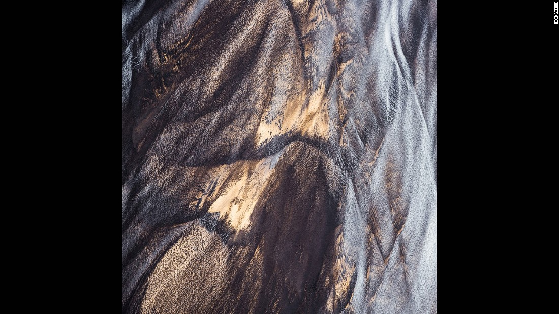 "This aerial photograph of a glacial river in Iceland is part of Lieber's ""Earth Patterns"" series."