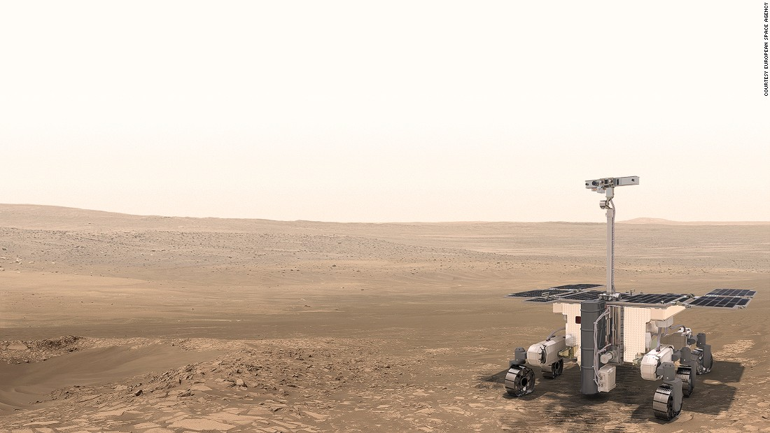 An artist's rendition of the The ExoMars 2020 Rover, which will drill into the Martian surface to analyze samples.