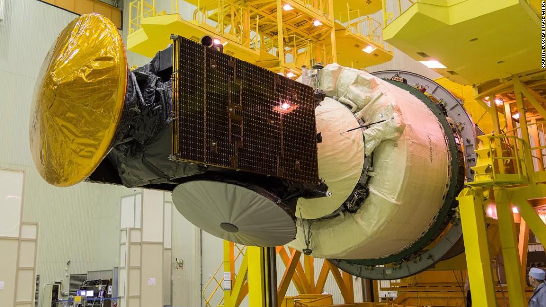 The ExoMars spacecraft ready for encapsulation at the Baikonur cosmodrome.