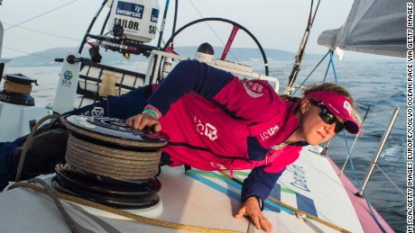 AT SEA - JUNE 08:  In this handout image provided by the Volvo Ocean Race, onboard Team SCA. Annie Lush looking for wind further off the coast during the sailing of Leg 8 from Lisbon to L'Orient on June 8, 2015 in Lisbon, Portugal. The Volvo Ocean Race 2014-15 is the 12th running of this ocean marathon. Starting from Alicante in Spain on October 04, 2014, the route, spanning some 39,379 nautical miles, visits 11 ports in eleven countries (Spain, South Africa, United Arab Emirates, China, New Zealand, Brazil, United States, Portugal, France, The Netherlands and Sweden) over nine months. The Volvo Ocean Race is the world's premier ocean yacht race for professional racing crews. (Photo by Anna Lena Elled/Team SCA via Getty Images)