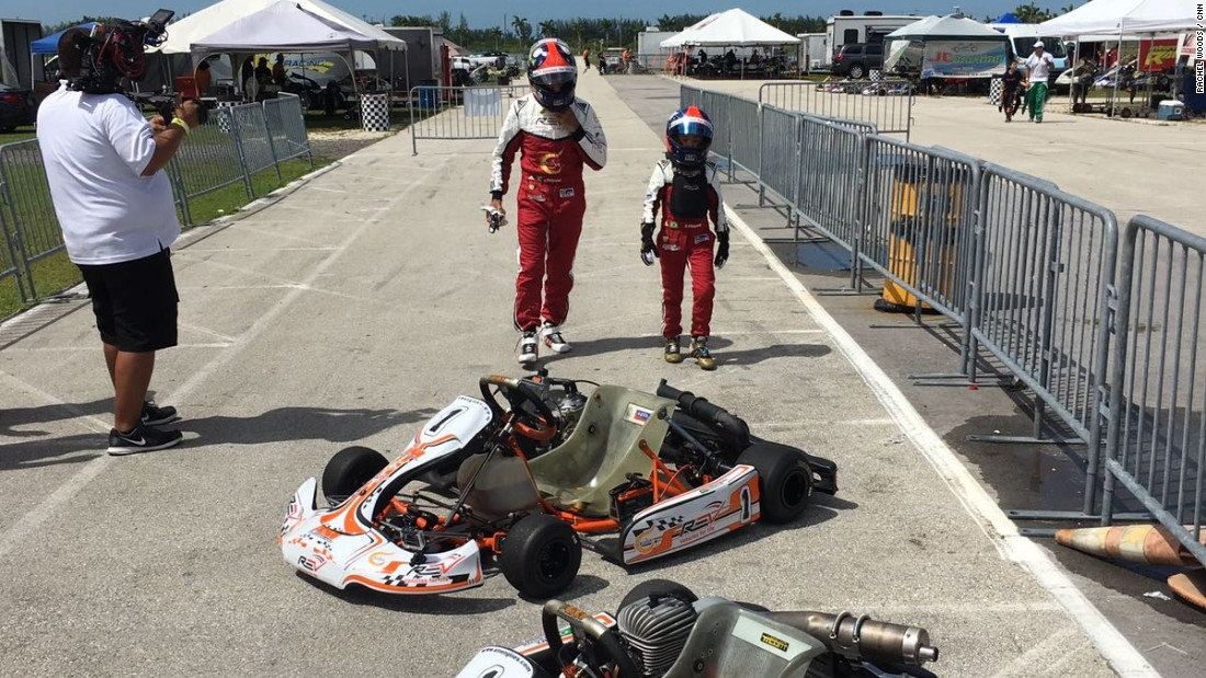 Fittipaldi and his nine-year-old son go head-to-head in go-karts at the Homestead-Miami Speedway karting circuit.