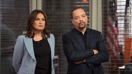 "Mariska Hargitay as Olivia Benson, Ice-T as Odafin Tutuola in a recent episode of ""Law & Order: SVU."" (Photo by: Peter Kramer/NBC)"