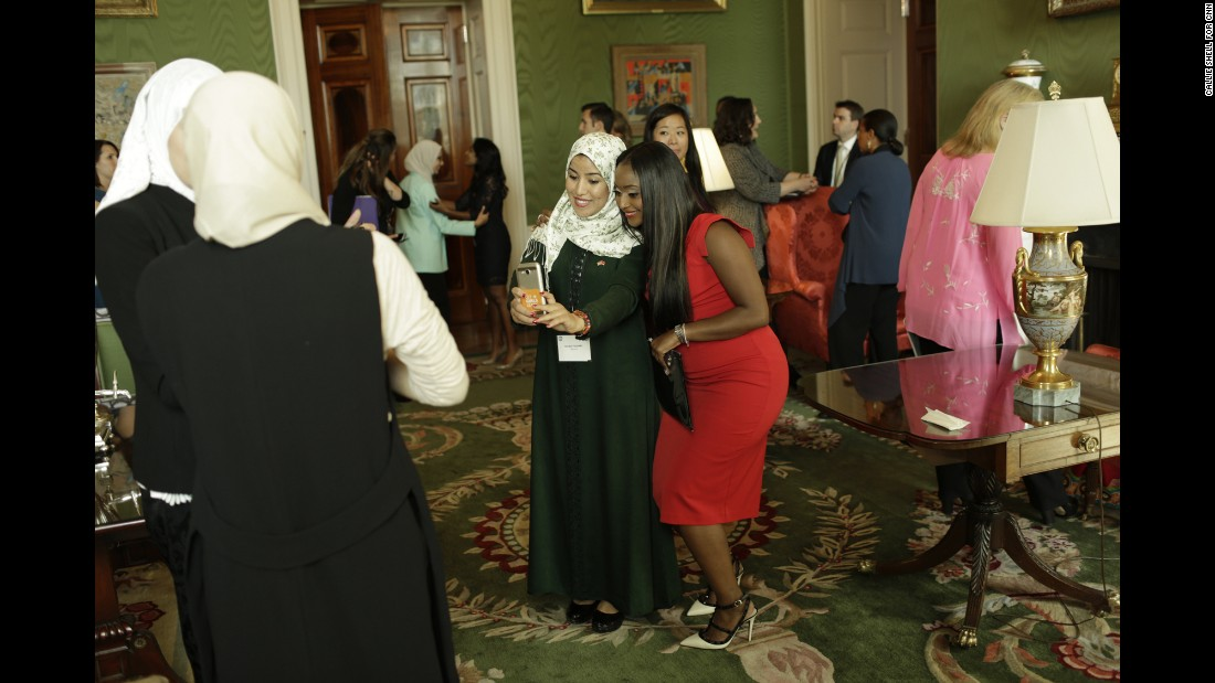 "CNN's Isha Sesay, seen here in red taking a photo in the White House's Green Room, also traveled to Liberia and Morocco with Obama and <a href=""http://www.cnn.com/2016/10/10/opinions/cnn-films-we-will-rise-freida-pinto/index.html"" target=""_blank"">actress Freida Pinto</a>."