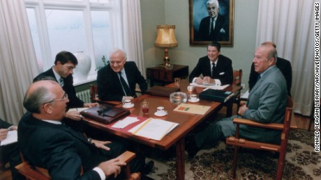 11th October 1986:  L-R: Soviet premier Mikhail Gorbachev, a translator, Soviet foreign minister Eduard Shevardnadze, US President Ronald Reagan, a translator, and secretary of state George Shultz sit for their first meeting at the Hofdi House, during the Summit in Reykjavik, Iceland.  (Photo by Ronald Reagan Library/Getty Images)