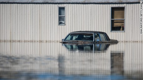 A residence is inundated with floodwaters from the Lumber River in Fair Bluff, North Carolina.