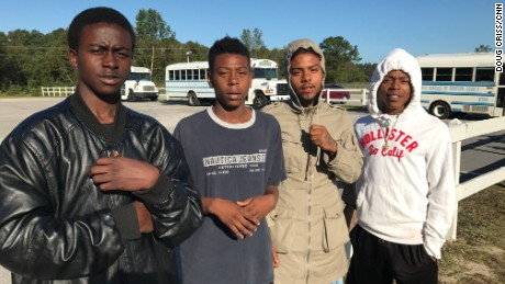 From left: Jaylane Sinclair, Davontae McBryde, Louis Rodriguez and Kashon Priest. They helped rescue their neighbors as the floodwaters from Hurricane Matthew surrounded their apartment complex.