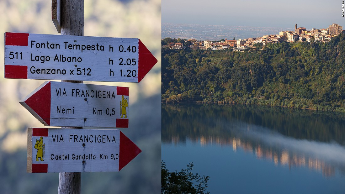 The scenic, eight-mile Via Francigena hike from Lake Nemi to the larger crater lake of Lake Albano and Castel Gandolfo is popular with both locals and overseas visitors.