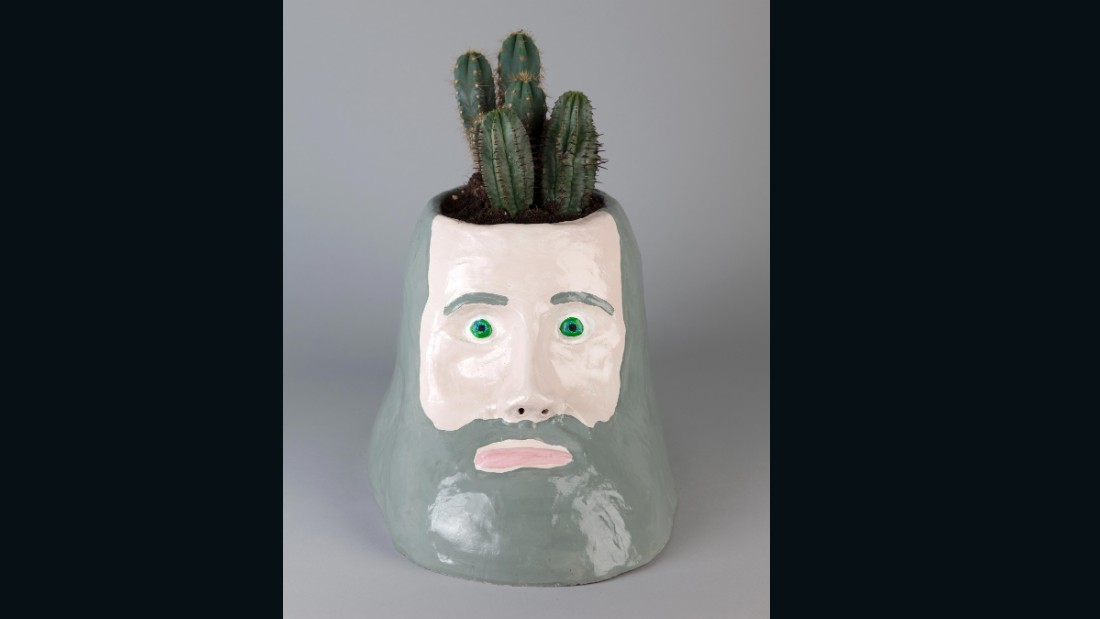 """""""The Philosopher"""" (2008), painted ceramic and cacti.<br />"""