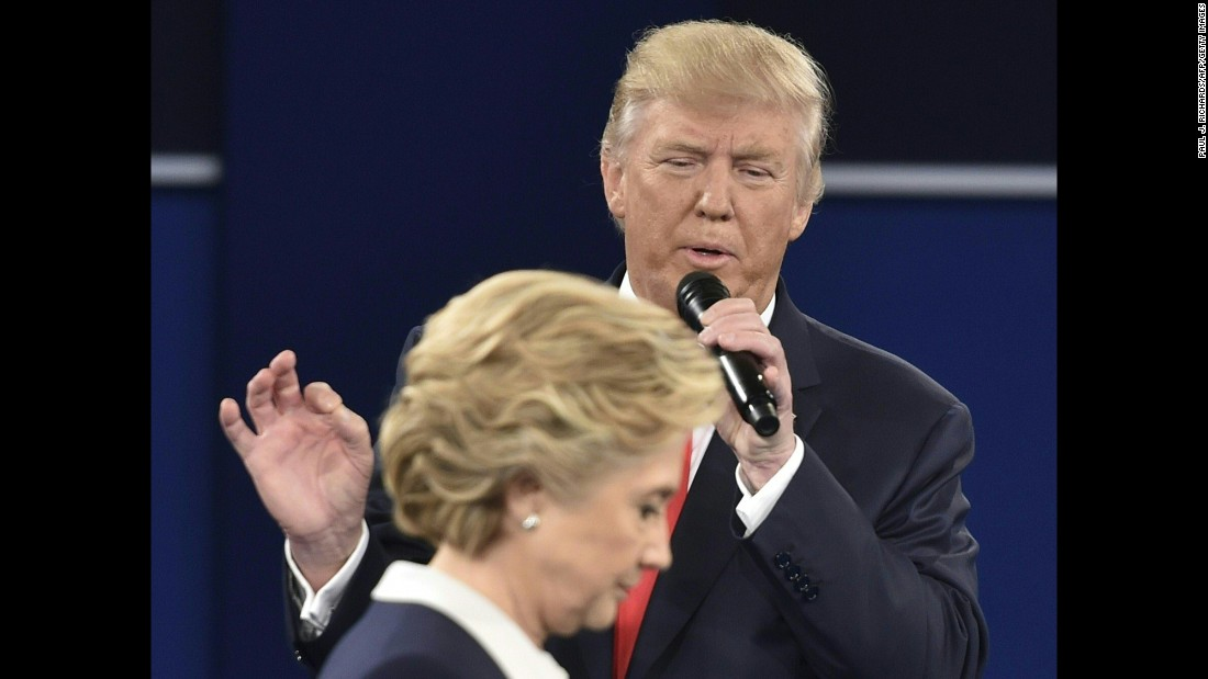"""Republican presidential nominee Donald Trump speaks at the <a href=""""http://www.cnn.com/2016/10/10/opinions/clinton-trump-second-debate-roundup/index.html"""" target=""""_blank"""">second presidential debate</a> in St. Louis on Sunday, October 9. Trump and Hillary Clinton, the Democratic Party's nominee, <a href=""""http://www.cnn.com/2016/10/09/politics/debate-fact-check-trump-clinton/"""" target=""""_blank"""">clashed on a range of issues</a>."""