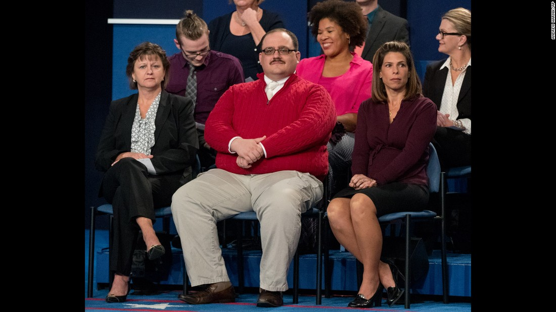 """Ken Bone, an undecided voter, waits for the start of the second presidential debate in St. Louis on Sunday, October 9. The town-hall style debate quickly saw Bone <a href=""""http://www.cnn.com/2016/10/10/politics/debate-ken-bone-staring-man-trnd/"""" target=""""_blank"""">become an Internet sensation</a>, with many viewers declaring him -- not nominees Donald Trump or Hillary Clinton -- the true winner."""