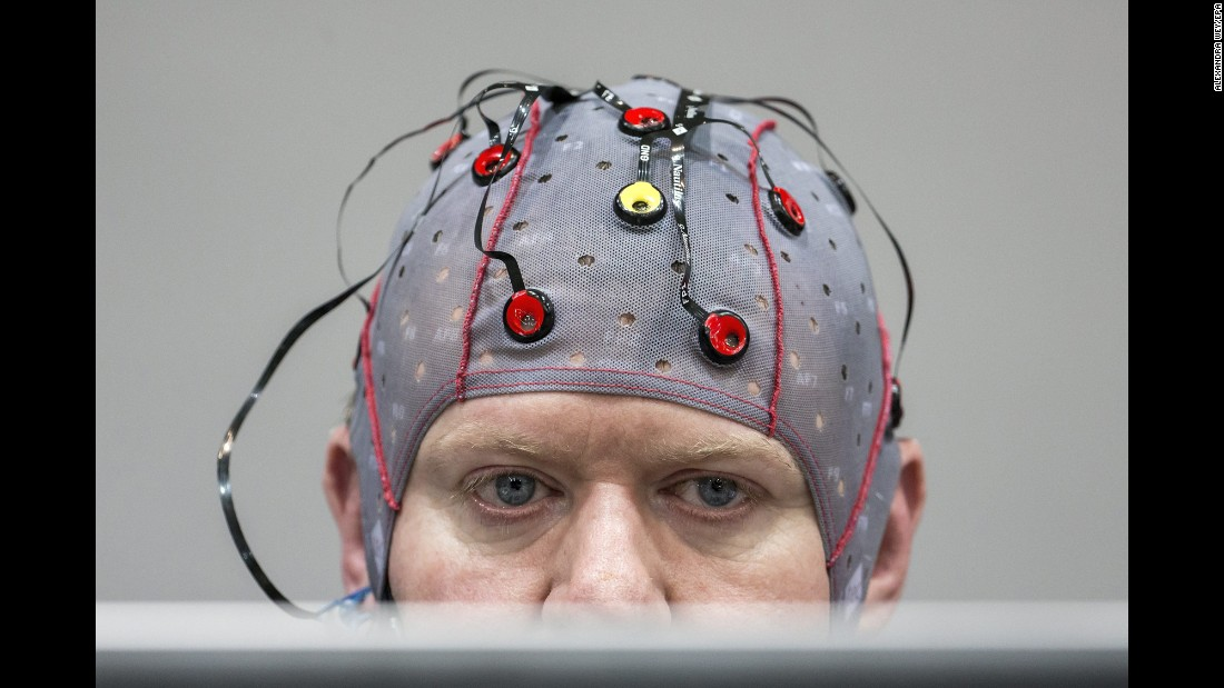 Owen Collumb competes at the Brain-Computer Interface race in Zurich, Switzerland, on Saturday, October 8. The race is part of Cybathlon, a competition in which individuals with physical disabilities use the latest assistive technologies to compete in six disciplines.