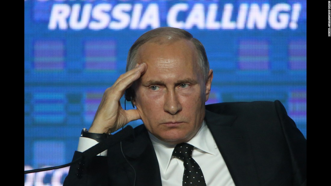 Russian President Vladimir Putin attends the Russia Calling! investment forum in Moscow on Wednesday, October 12.