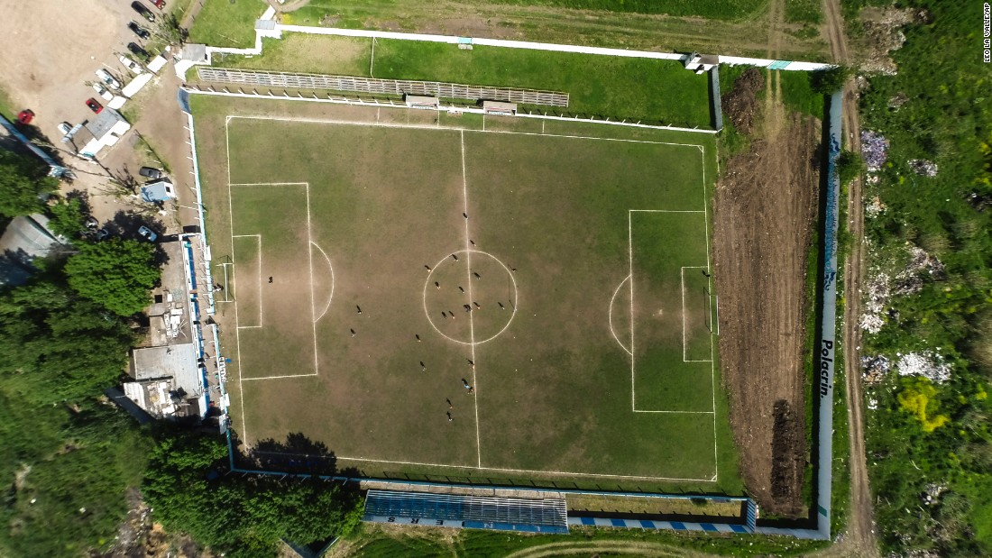 """A field belonging to the Club Social y Deportivo Liniers Argentine soccer team in San Justo, Argentina, is is seen from above on Wednesday, October 12. <a href=""""http://bigstory.ap.org/article/141131ab3f3d4280a13e4b8f20be8287/argentina-soccer-club-played-30-years-crooked-field"""" target=""""_blank"""">According to The Associated Press</a>, the team has been playing on the crooked field for nearly 30 years."""