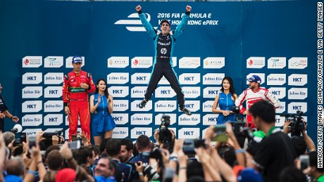 Sebastien Buemi celebrates winning the inaugural Hong Kong ePrix