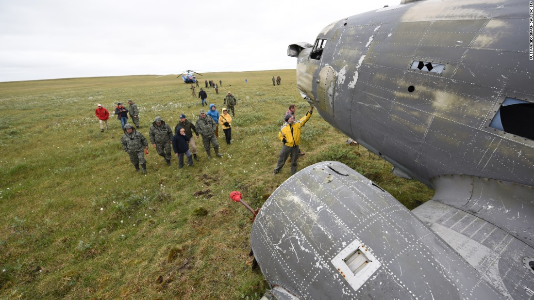Wrecked Douglas C-47 brought in from Siberian cold