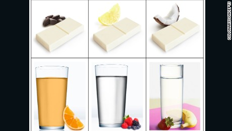 Food bars and drinks, pictured next to their flavors, developed by the biotech firm ColonaryConcepts to be used as part of a colonoscopy preparation routine.