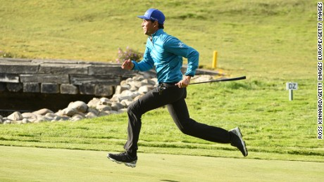 SOTOGRANDE, SPAIN - APRIL 12:  Rafa Cabrera-Bello of Spain runs up to the green during the Guiness World Record attempt at the fastest par five hole of 500 yards prior to the Open de Espana at Real Club Valderrama on April 12, 2016 in Sotogrande, Spain.  (Photo by Ross Kinnaird/Getty Images)