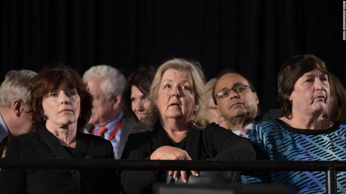 """Kathleen Willey, left, Juanita Broaddrick and Kathy Shelton sit in the audience at the second presidential debate between presidential nominees Donald Trump and Hillary Clinton in St. Louis, Missouri, on Sunday, October 9. Trump held a news conference with the three women, as well as Paula Jones -- each of whom have in the past<a href=""""http://www.cnn.com/2016/10/09/politics/donald-trump-juanita-broaddrick-paula-jones-facebook-live-2016-election/"""" target=""""_blank""""> made allegations against</a> Hillary and her husband, former President Bill Clinton -- less than two hours before the town hall-style debate."""