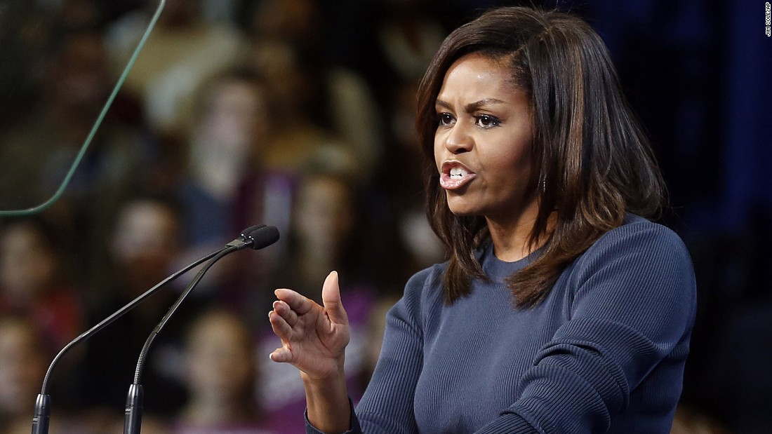"""First lady Michelle Obama speaks at a campaign rally for Democratic presidential nominee Hillary Clinton in Manchester, New Hampshire, on Thursday, October 13. The first lady delivered an impassioned speech <a href=""""http://www.cnn.com/2016/10/13/politics/michelle-obama-donald-trump-election-2016/"""" target=""""_blank"""">condemning Republican presidential nominee Donald Trump</a> for his remarks made in a recently unearthed video from 2007, where he is heard speaking about his sexually aggressive behavior toward women."""