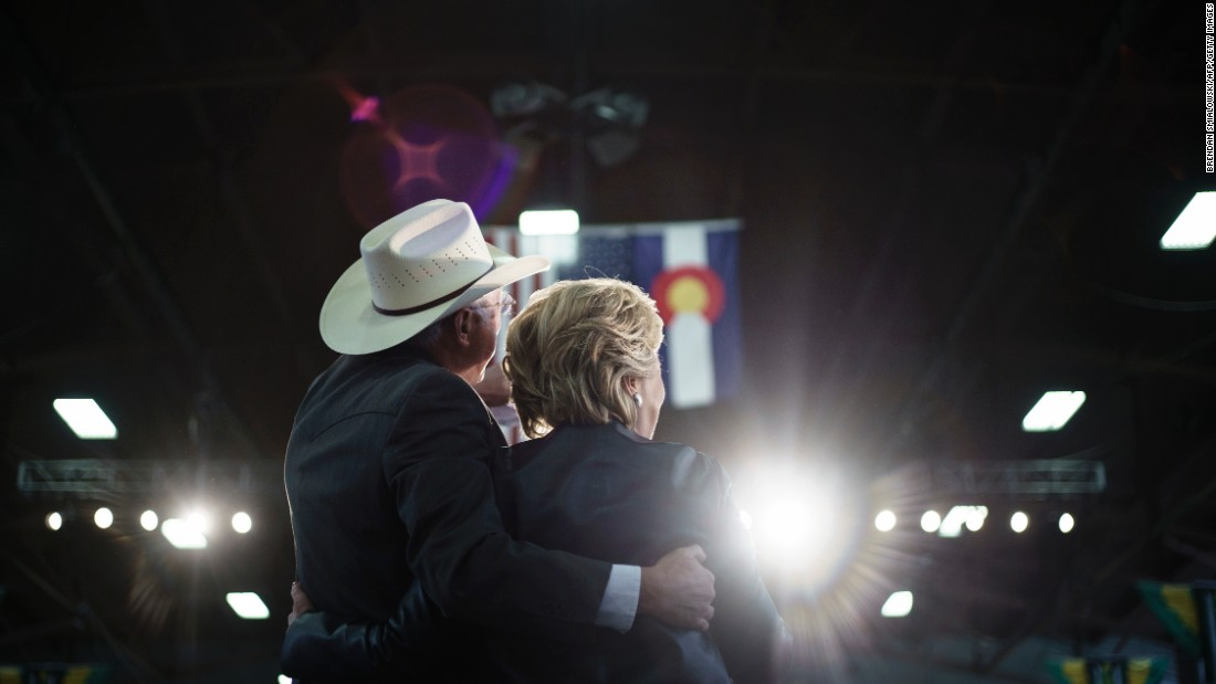 """Former US Sen. Ken Salazar, left, of Colorado embraces Democratic presidential nominee Hillary Clinton during a rally in Pueblo, Colorado, on Wednesday, October 12. The Clinton campaign announced that Salazar, who also served as President Barack Obama's secretary of the interior, <a href=""""http://www.cnn.com/2016/08/16/politics/hillary-clinton-transition-team-ken-salazar/"""" target=""""_blank"""">will head the transition</a> for a potential Clinton administration."""