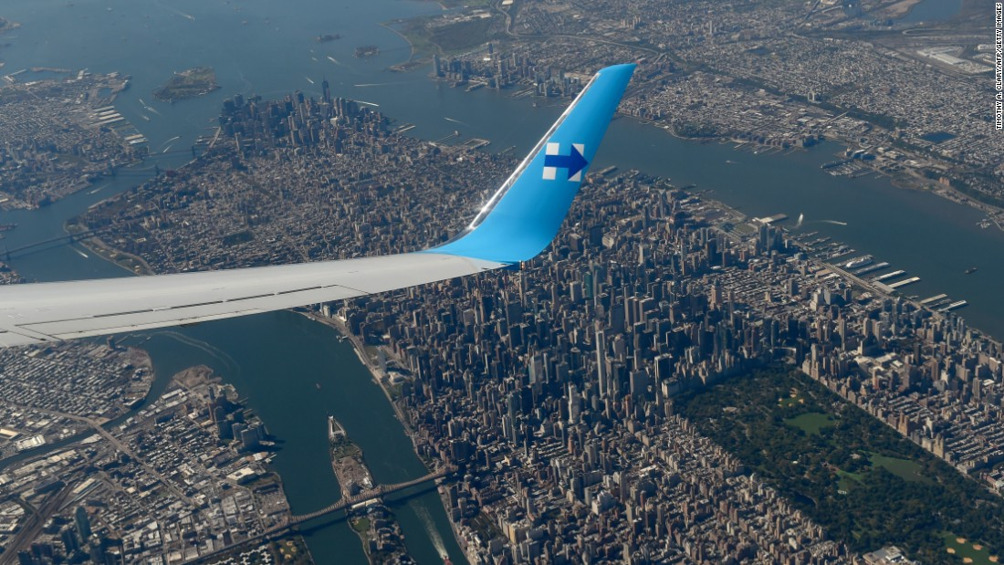 The campaign plane ofDemocratic presidential nominee Hillary Clinton passes over New York en route to Miami on Tuesday, October 11.