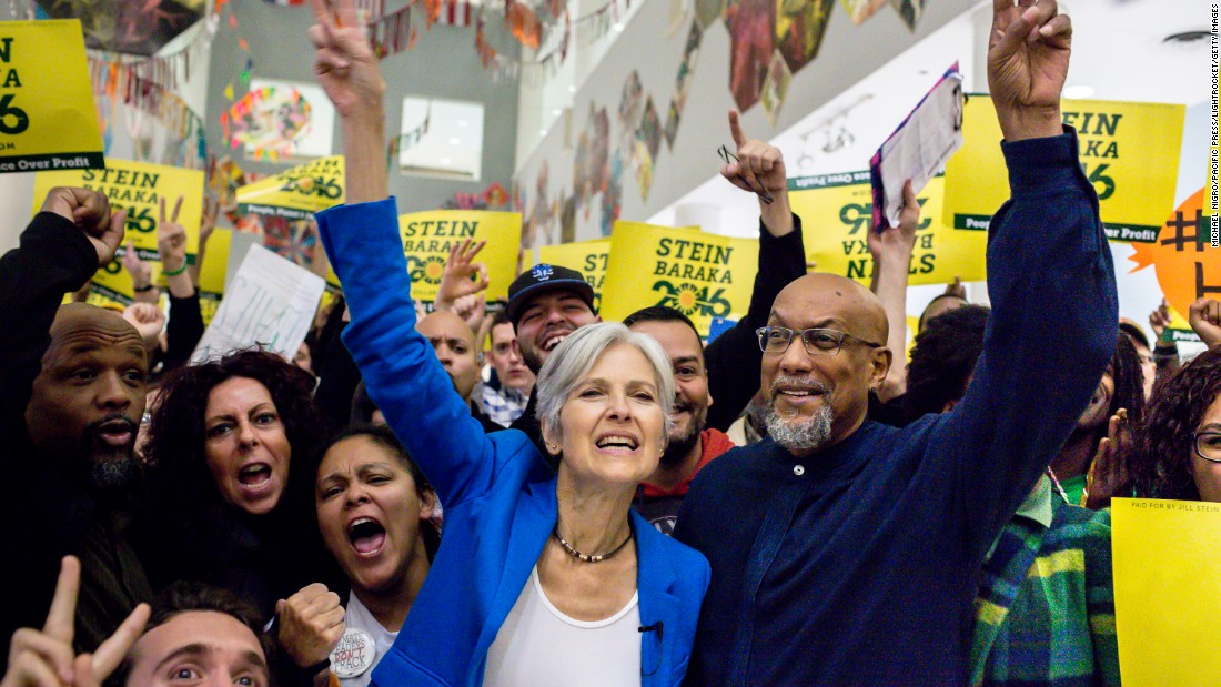 Green Party presidential nominee Jill Stein and her running mate, Ajamu Baraka, attend a rally in the Bronx, New York, on Thursday, October 13.