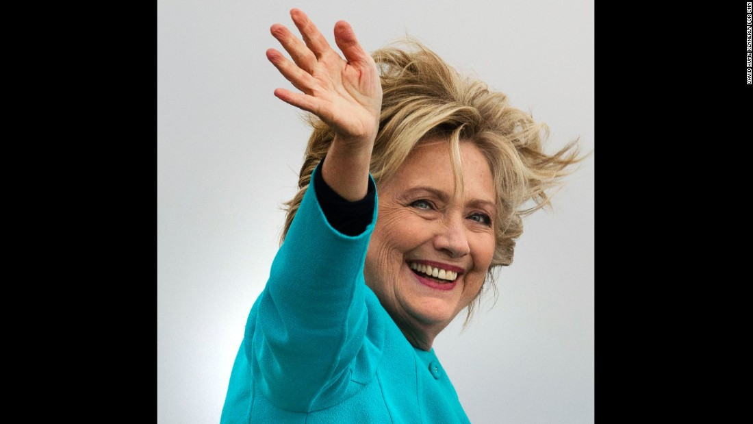 Hillary Clinton boards her campaign plane on Friday, October 14, at Boeing Field in Seattle as she headed to Westchester, New York, for a weekend of debate preparation. Clinton spoke at a fundraiser and visited a campaign field office during her trip to Seattle.