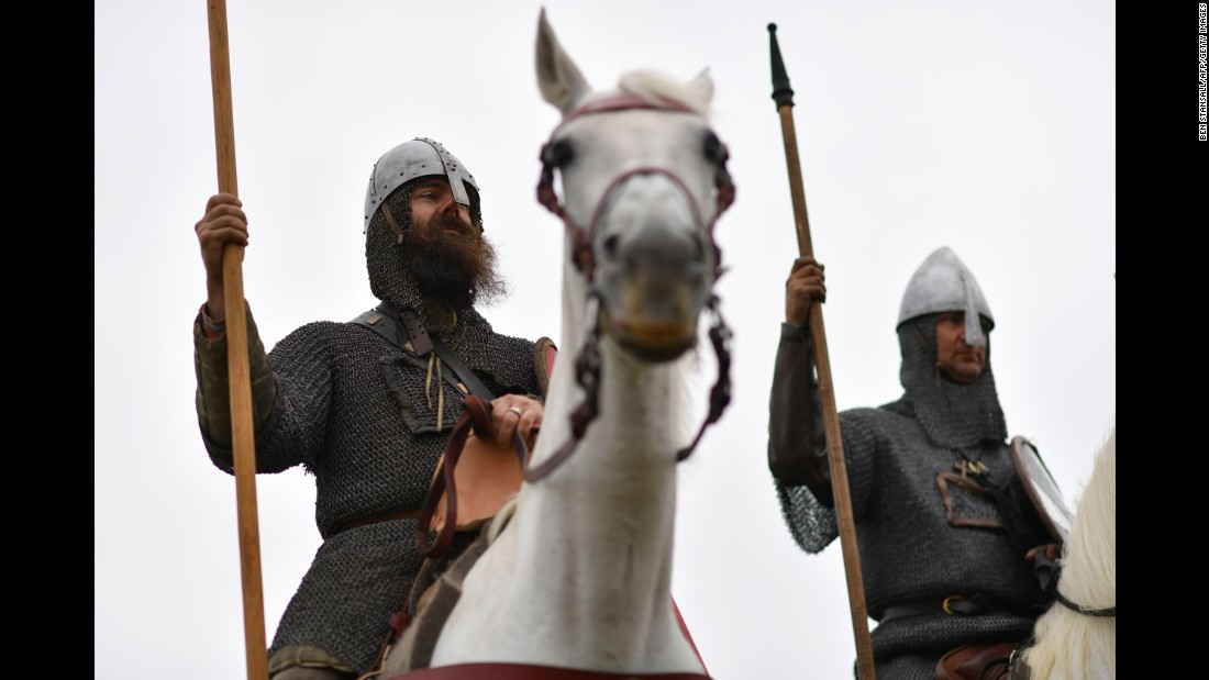 """Re-enactors await """"battle."""" William would go on to become king of England after his military victories."""