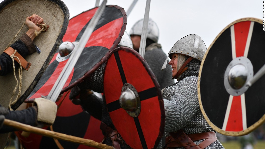The re-enactment gets underway at Battle Abbey.
