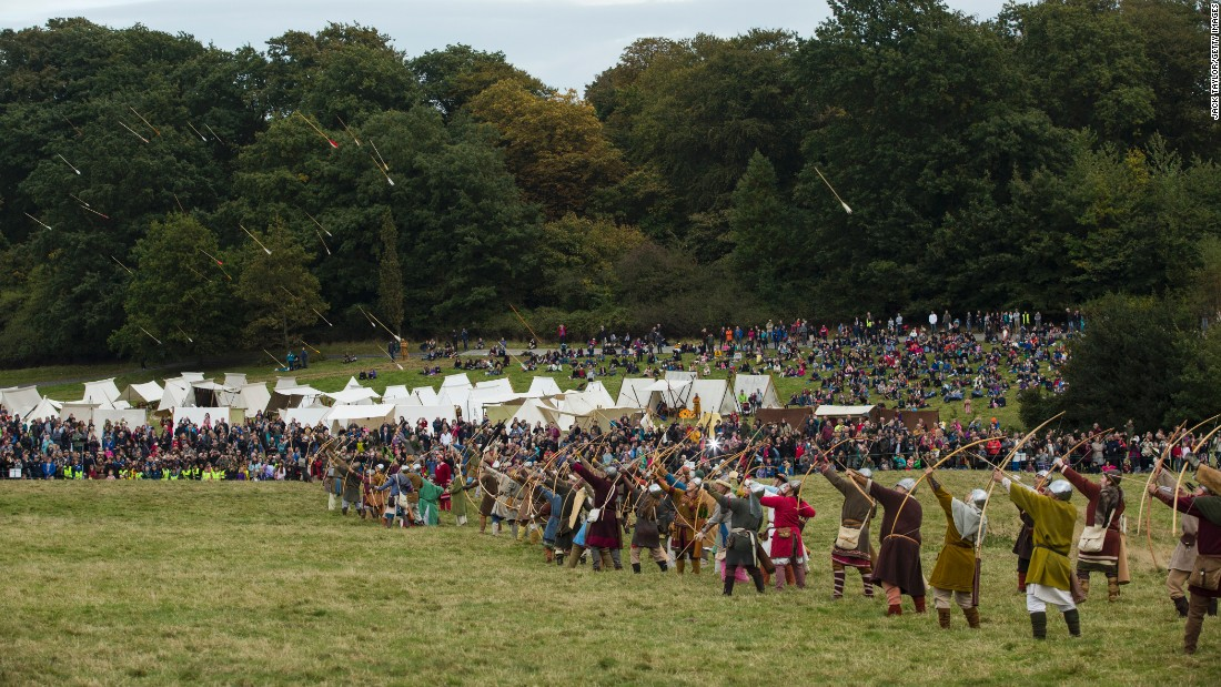 Arrows are fired at the beginning of the re-enactment of the Battle of Hastings.
