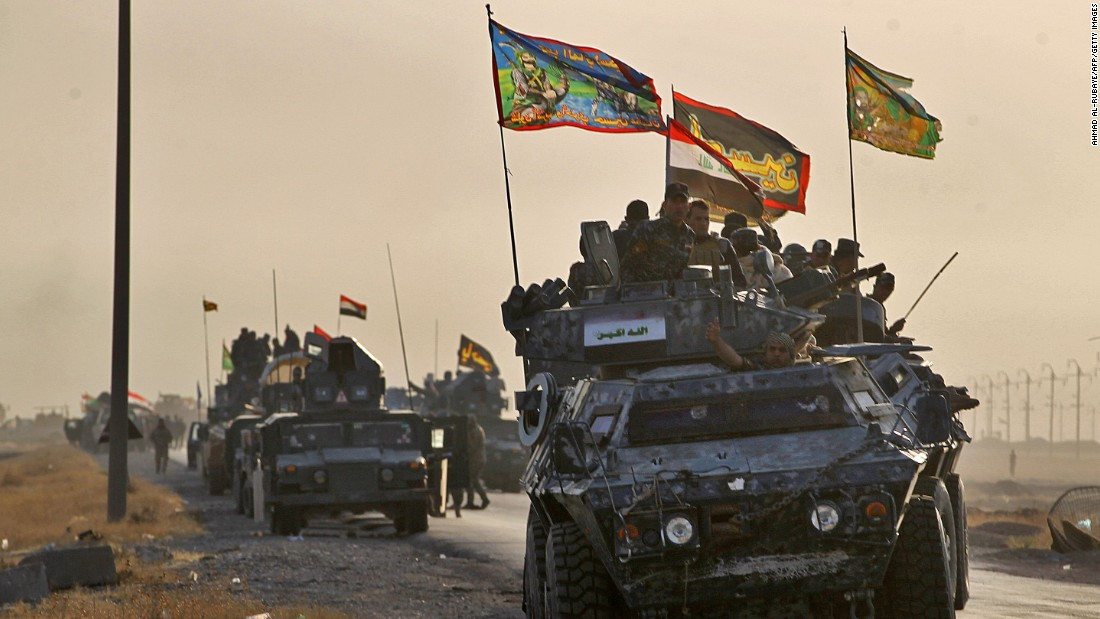 Iraqi forces advance near al-Shurah on October 17.