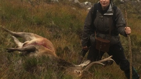 Louise Gray with her final kill - a Scottish stag.