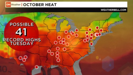 Over 40 cities could see record high temperatures on Tuesday