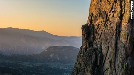 The portaledge seems especially tiny in the vast Colorado Rockies.