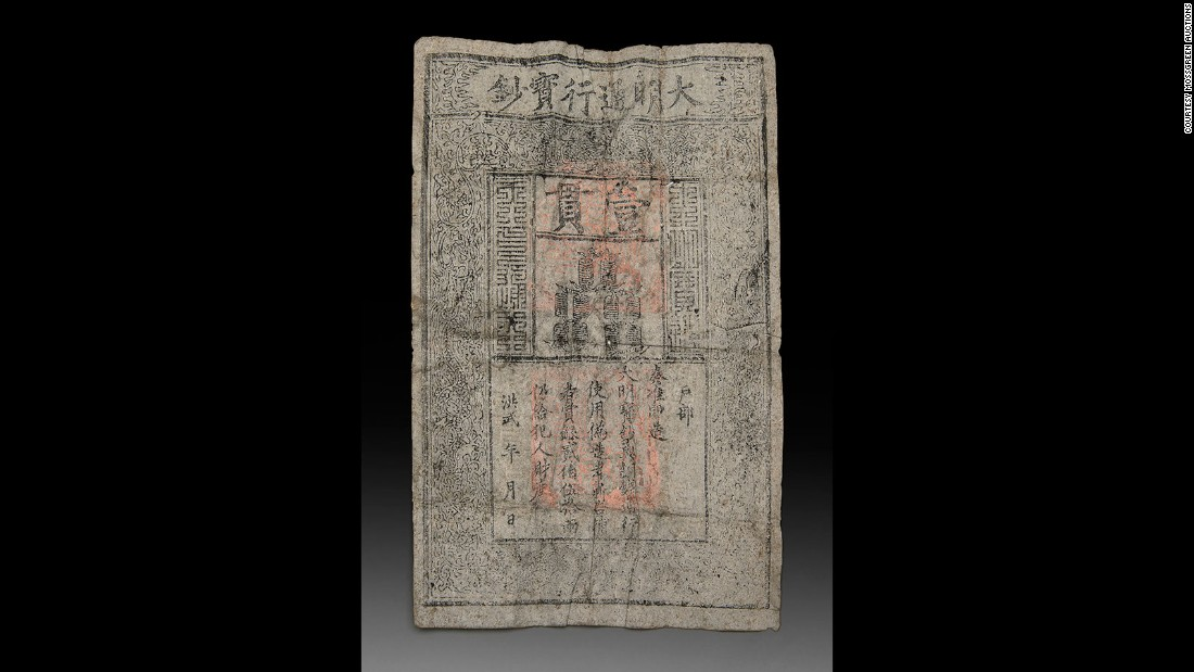 Its face value was worth roughly $98 at the time of its circulation and the 700-year-old banknote is believed to have been handmade during China's Ming dynasty. Together, the banknote and sculpture are expected to fetch between $30,000 to $45,000 at auction.