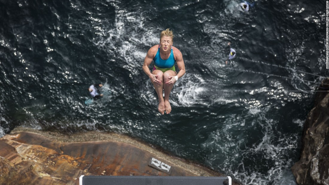 Meet the athletes who throw themselves into the sea. The Cliff Diving World Series sees some of the world's most fearless competitors acrobatically descend from heights of up to 28 meters. Here, American Cesilie Carlton, placed third in the 2016 women's standings, plunges into the water from 21.5m on October 16.