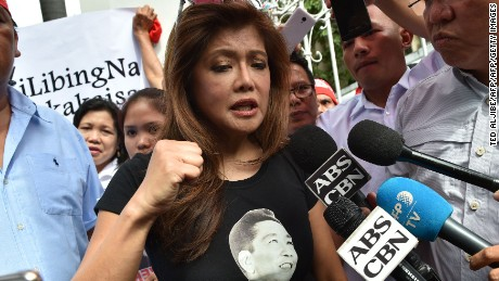 Imee Marcos speaks at a pro-Marcos rally in Manila on Monday.