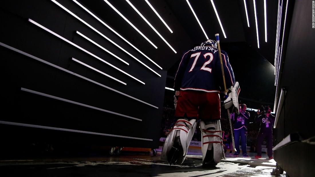 Columbus goalie Sergei Bobrovsky walks onto the ice before the start of an NHL game in Columbus, Ohio, on Thursday, October 13.