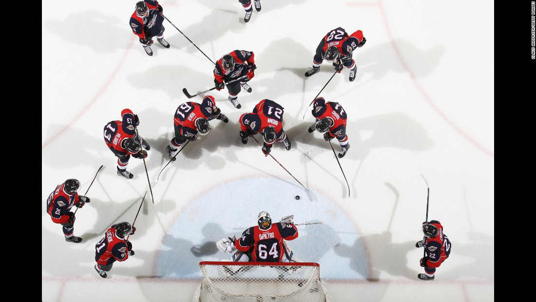 The Windsor Spitfires warm up before an Ontario Hockey League game on Friday, October 14.