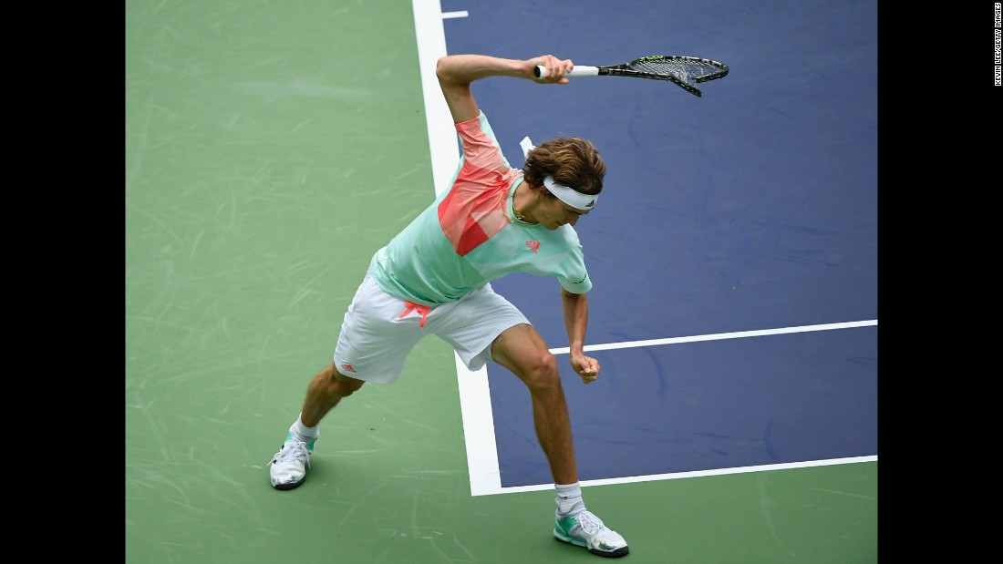 Alexander Zverev breaks his racket in frustration during a match in Shanghai, China, on Thursday, October 13.