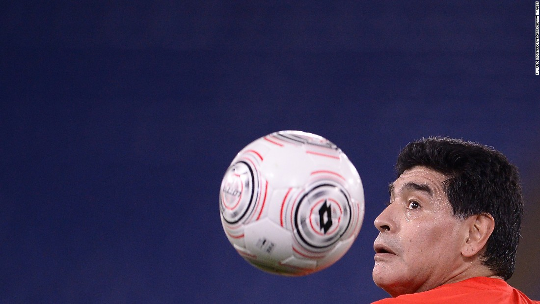 Argentine soccer legend Diego Maradona warms up before a charity match in Rome on Wednesday, October 12.