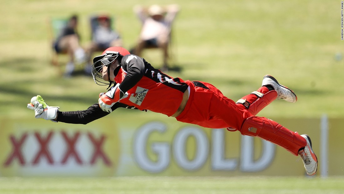 Alex Carey catches a ball during a one-day cricket match in Sydney between South Australia and New South Wales on Wednesday, October 12.