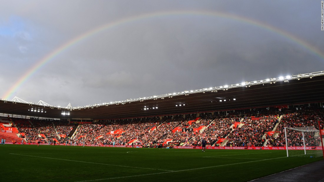 """A rainbow is seen over St. Mary's Stadium during a Premier League match in Southampton, England, on Sunday, October 16. <a href=""""http://www.cnn.com/2016/10/11/sport/gallery/what-a-shot-sports-1011/index.html"""" target=""""_blank"""">See 35 amazing sports photos from last week</a>"""