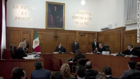 Mexico's Supreme Court judges discuss the appeal presented by French citizen Florence Cassez, sentenced to 60 years of imprisonment, in Mexico City on January 23, 2013. AFP PHOTO/ Yuri CORTEZ        (Photo credit should read YURI CORTEZ/AFP/Getty Images)