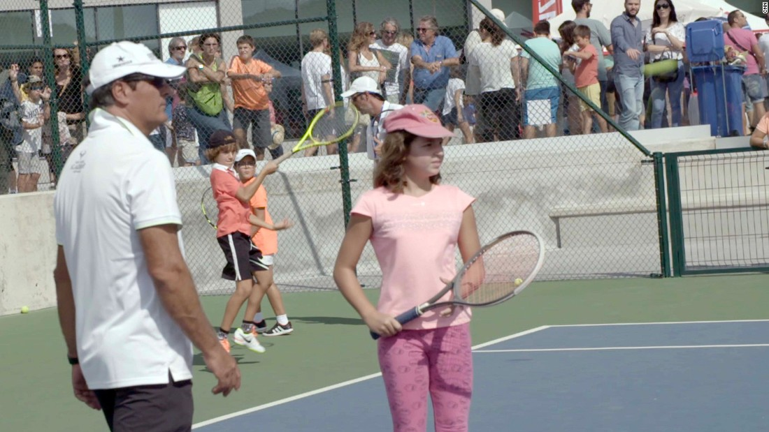 Nadal's uncle Toni, the academy's head coach, gave tips to kids on the open day.