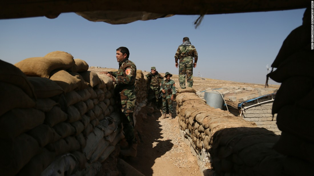 Kurdish Peshmerga forces are on the front line in Nineveh, Iraq, on October 18.