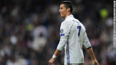 MADRID, SPAIN - OCTOBER 18: Cristiano Ronaldo of Real Madrid looks on during the UEFA Champions League Group F match between Real Madrid CF and Legia Warszawa at Bernabeu on October 18, 2016 in Madrid, Spain.  (Photo by Denis Doyle/Getty Images)