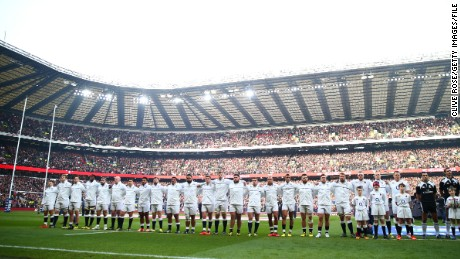 LONDON, ENGLAND - MARCH 12: The England team line up during the RBS Six Nations match between England and Wales at Twickenham Stadium on March 12, 2016 in London, England.  (Photo by Clive Rose/Getty Images)