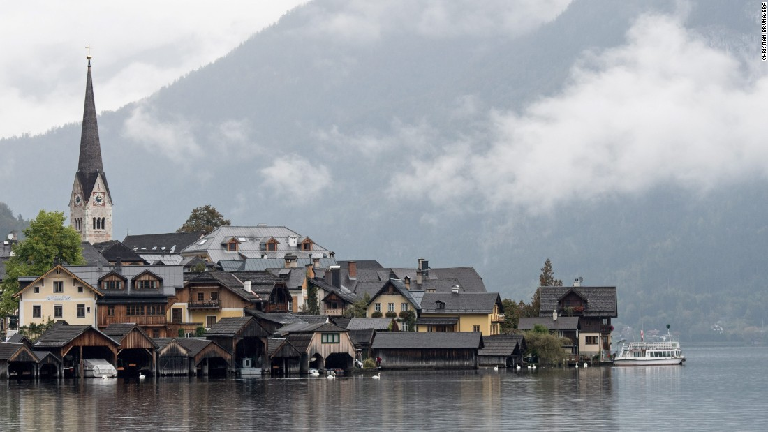 The picturesque Austrian village of Hallstatt, in a UNESCO World Heritage region, is beautiful underneath as well as on the surface. There is a subterranean salt lake in the village's ancient salt mines.
