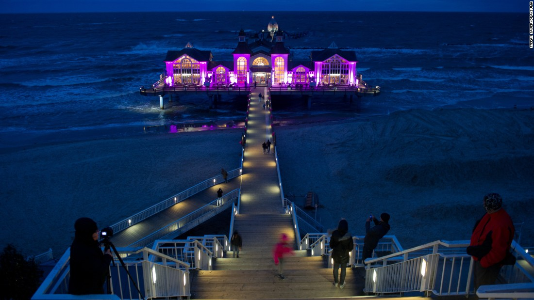 The pier of Sellin, on the German island of Rügen, is lit in pink for the UN International Day of the Girl Child on October 11. Sellin is a long-standing Baltic spa town.